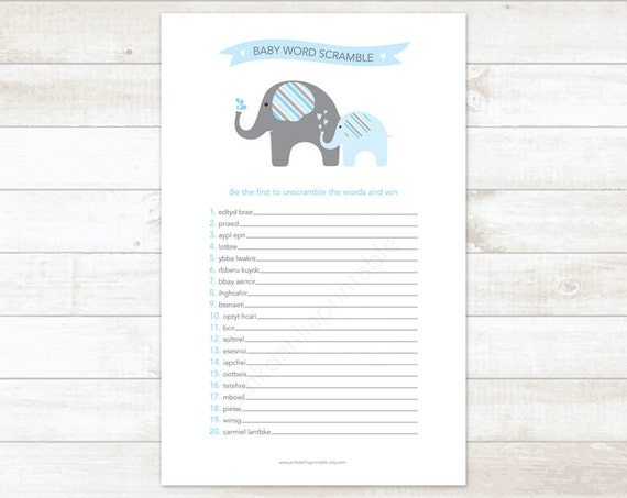 baby shower word scramble game baby boy shower game blue elephant baby