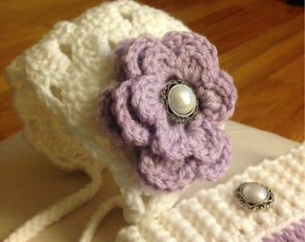 Baby Girl bonnet with britches