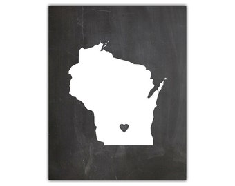 Printable state silhouette print - chalkboard state wall art - state silhouette - wisconsin state art - state art print - instant download