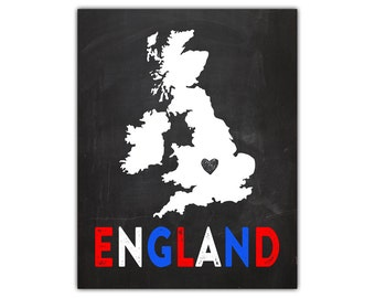 England print - england map  uk art  heart map print  england uk flag  silhouette art print  love england  silhouette printable  country map