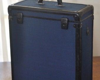 Vintage Blue Industrial Suitcase Luggage Trunk Case Storage Box Holder
