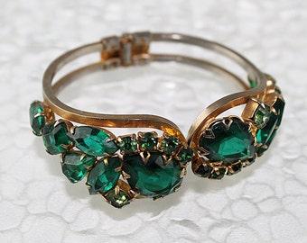 Vintage Green Rhinestone Juliana Bracelet, Hinged Bracelet, Vintage Rhinestone Bracelet, Vintage Bracelet, JW150