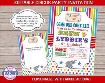 Circus Rainbow Blank Invitation, Canival invitation, For Any Occassion, instant download, printable invitation, boy birthday, carnival