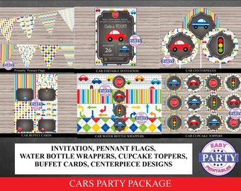 Cars Birthday Party Instant Download Printable Party Package, chalkboard, cars, street lights, print from home, coordinating items available