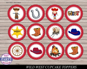 Wild West cupcake toppres, Instand download, cowboy Party, red, Rodeo, Boots, Western, Country Fair, topper circles, Rodeo Birthday, DIY