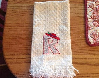 Red Hat Society Embroidered Initial Kitchen Towel