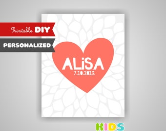Personalized nursery art,Heart, baby name print, birth date, coral and grey nursery. ( stcg )