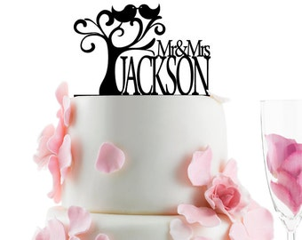 Wedding Accessories Custom Wedding Cake Topper Personalized Monogram Cake Topper - Mr and Mrs -  Cake Decor -  Bride and Groom -  Love Birds