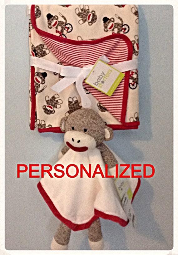 Personalized Sock Monkey lovey/snuggle buddy/ by RatticleBaby