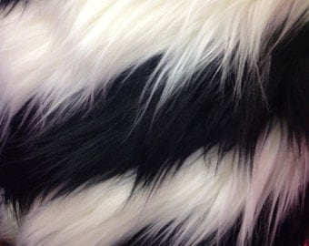 two tone stripe faux fur shaggy by the yard