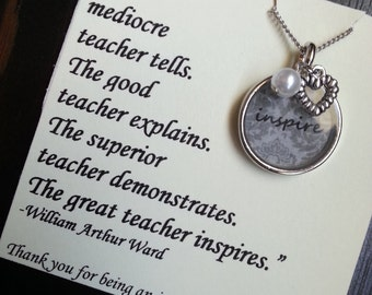 Inspire - Unique Teacher Gift Bezel Necklace with Charms and Poem