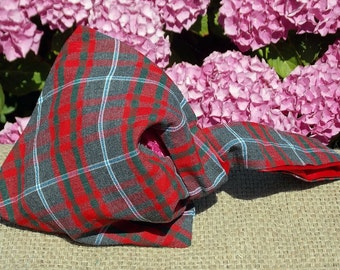 Handmade Ladies small reversable pouch handbag made from vintage Tartan fabric and Red Satin