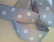 7/8 inch Gray grosgrain polka dot ribbon, 5 yards