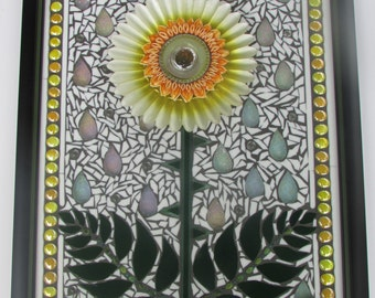 Yellow Daisy Stained Glass Mosaic Flower