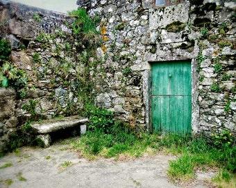 Travel photography, door photo, Europe photography, Green Door, bench, rustic decor, green, Europe, home decor, country decor, rural decor