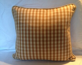 Taupe and Creme Check Pillow Cover