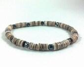 Unisex Handmade Heishi & Hematite Stretch Bracelet