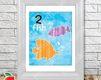 2 Fish Dr Seuss Themed Nursery Playroom Print
