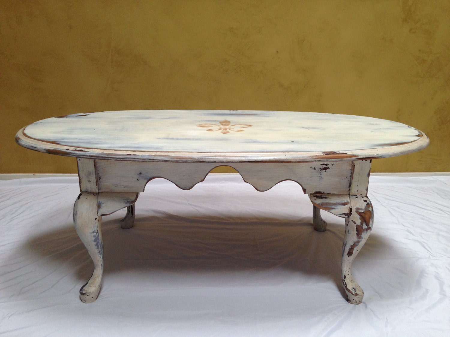 Vintage Queen Anne Coffee Table Refinished Rustic Vintage