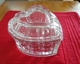 VINTAGE Crystal Heart Shaped Candy Misc. Dish, Cannister, Ribbed Edge