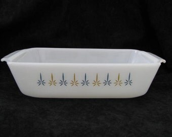 """Fire King """"Candle Glow"""" Bakeware by Anchor Hocking/ Loafpan/ Baking Dish/ 1950s/ Mid Century Modern"""