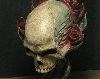Grateful Dead roses skull statue sculpture