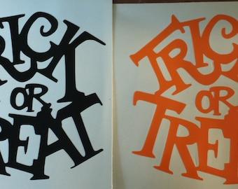 Halloween Trick Or Treat Vinyl Decals x2