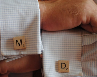 Pair of  Scrabble Letter Cuff links in the color(s) of your choice cufflinks