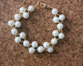White and gold beaded bracelet White glass pearl bracelet UK seller