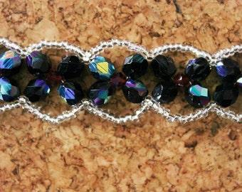 Gothic beaded bracelet Jet beads Red and silver beads Goth bracelet UK seller