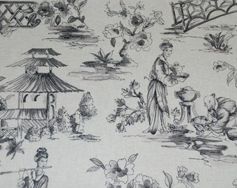 Grey Oriental Toile Fabric - Asian Toile - Fabric By The Yard - Gray Upholstery Fabric