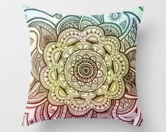 Mandala Pillow, Mandala Drawing, Pillow Cover, Original Art, Colorful Pillow, Original Drawing, Home Decor, Art Decor, Art Pillow