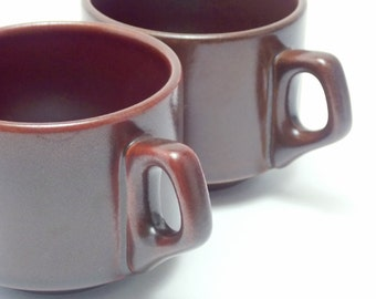 Two Vintage Heath Brown Red Shimmer Stackable Mugs Made in England