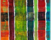 """Abstract Acrylic Painting """"Vertical Blinds"""" 18 x 24 x 1.5 Inches - Original, Handmade, Ready to Hang Art"""