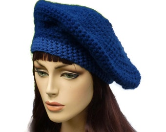 Winter Beret, Blue Two Tone Beret, Winter Tam, Winter French Beret, Handmade Beret, Crochet Beret