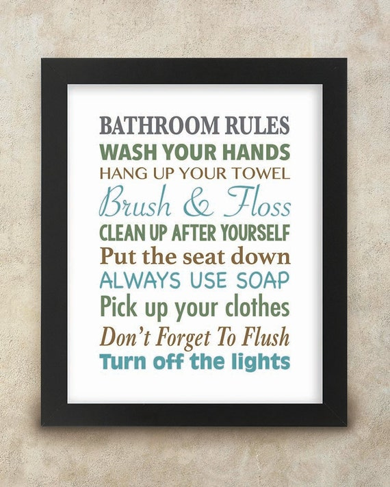 Bathroom rules wall art 8x10 digital print kids bathroom for Bathroom decor rules