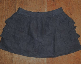 1980's Black Linen Mini Skirt with Side Ruffles and Lining UK Size 8/10