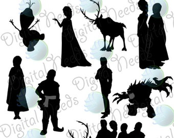 10 Frozen Silhouettes / png and SOURCE files / Disney ...