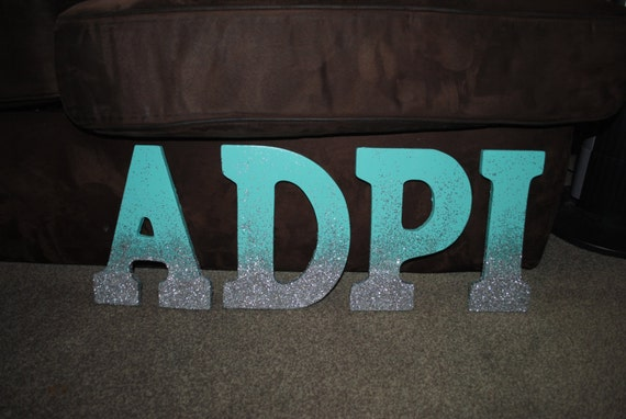 9 Wooden Glitter Ombre Sorority Letters Any Letter Any