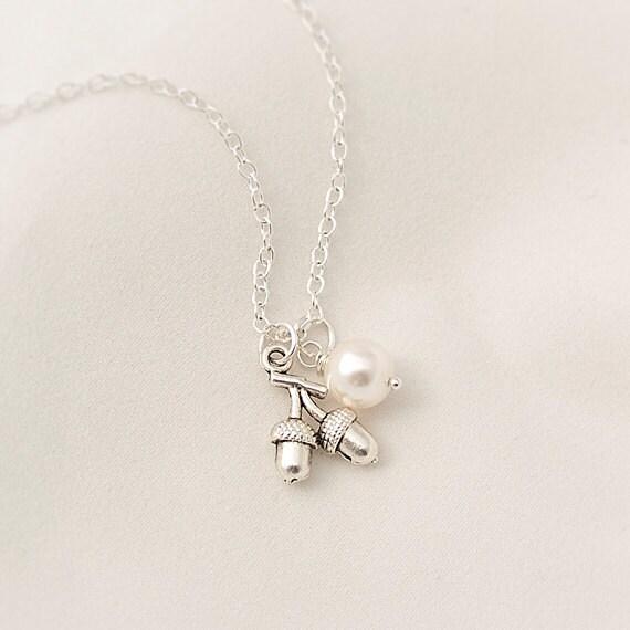 Delicate Necklace, Acorn Necklace, Swarovski Pearl Necklace
