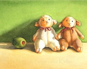 Olive Ewe Two ('I Love You Too!') Art Print of Original Watercolor