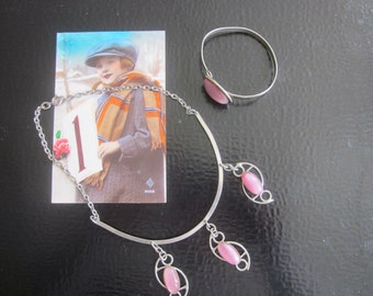 Jewelry fancy France year 50/60 necklace and bracelet stone pink assorted no precious material metal