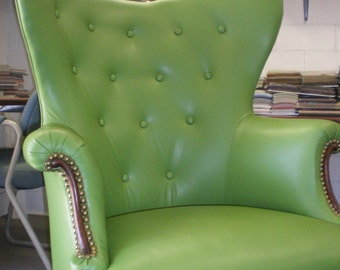 Retro Leather Antique Green Butterfly Wingback Chair