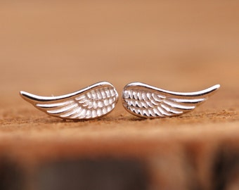 Sterling Silver Angel Wing Studs Earrings Dainty and Feminine Fantasy Gift For Girls Comes with Gift Box