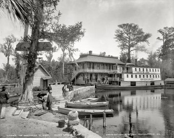 Silver Springs, Florida, c1900 Okeehumkee at wharf on the Oklawaha River copy of  vintage photograph