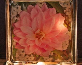 Pink Dahlia Glass Box