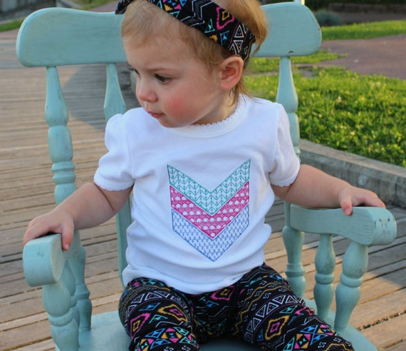 Chevron Baby Shirt Chevron Baby Bodysuit Girl or Boy Toddler Shirt Embroidered Chevron Shirt or Bodysuit Choose Colors and Size