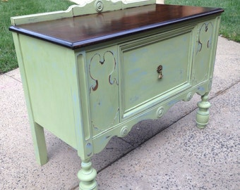 SOLD-Small Vintage Buffet Server-Chalk Painted Blue/ Green