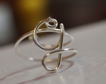"initial ""G"" wire wrapped ring"