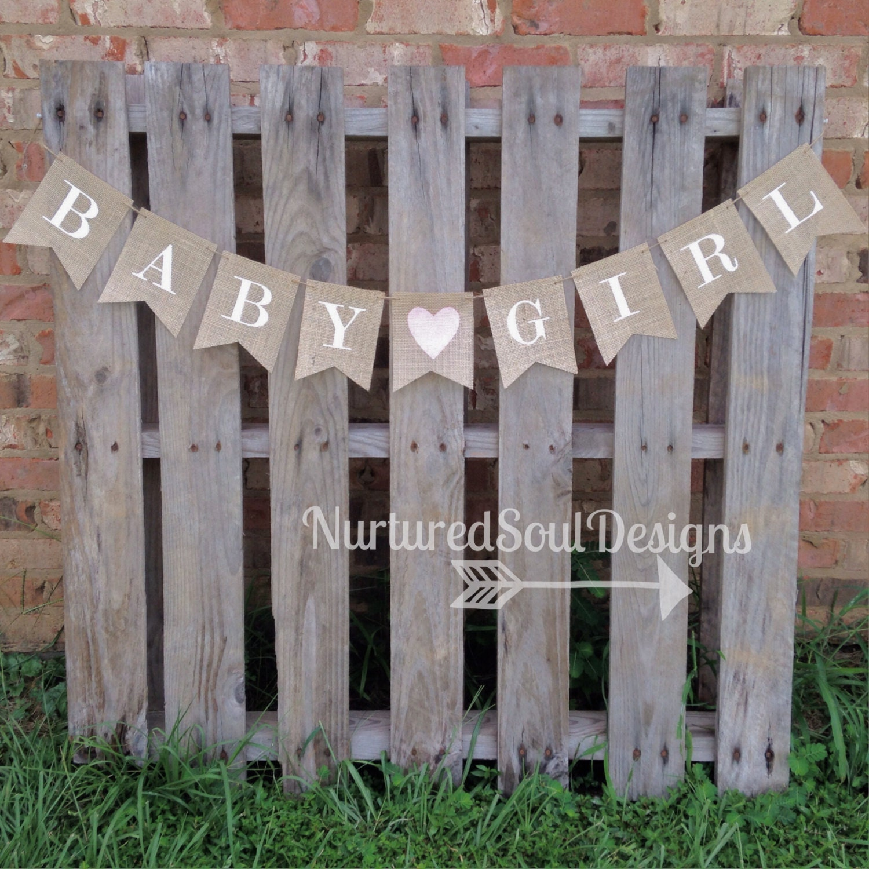 baby girl burlap banner baby shower by nurturedsouldesigns